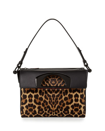 Passage Small Calf Hair Shoulder Bag, Leopard
