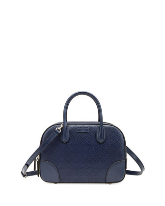 Bright Diamante Small Leather Bag, Navy