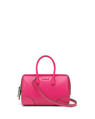 Bright Diamante Small Boston Bag, Fuchsia