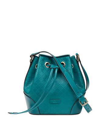 Bright Diamante Leather Bucket Bag, Turquoise