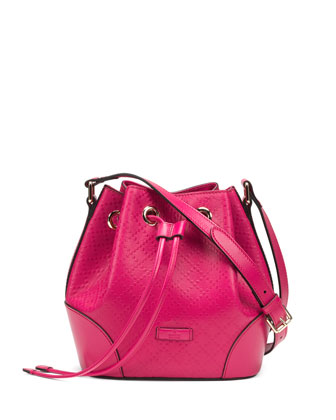 Bright Diamante Small Bucket Bag, Fuchsia