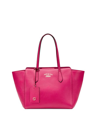 Swing Small Leather Tote Bag, Fuchsia
