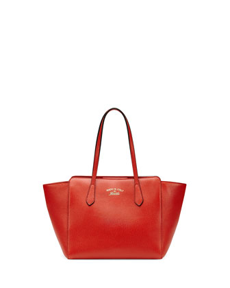 Swing Small Leather Tote Bag, Orange