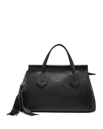 Lady Tassel Medium Leather Top Handle Bag, Black