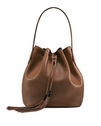 Lady Tassel Medium Bucket Bag, Brown