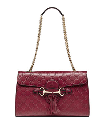Emily Guccissima Leather Chain Shoulder Bag, Dark Red