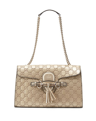 Emily Guccissima Leather Chain Shoulder Bag, Gold