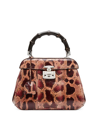 Lady Lock Medium Python Top Handle Bag, Dark Red