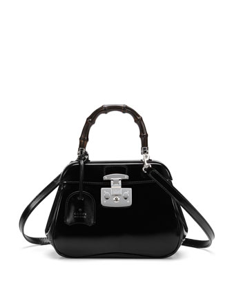 Lady Lock Mini Leather Top Handle Bag, Black