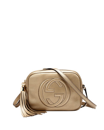 Soho Metallic Leather Disco Bag, Golden
