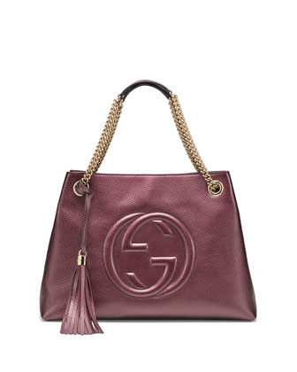 Soho Metallic Leather Shoulder Bag, Burgundy