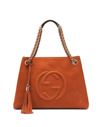 Soho Nubuck Leather Shoulder Bag, Orange