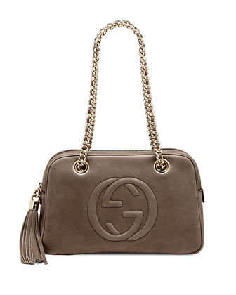 Soho Nubuck Leather Chain Shoulder Bag, Gray
