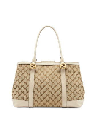 Miss GG Large Canvas Tote Bag, Beige