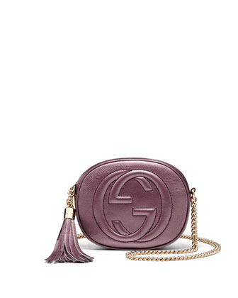 Soho Metallic Leather Mini Chain Bag, Pink