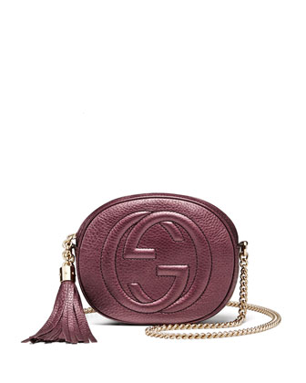 Soho Metallic Leather Mini Chain Bag, Burgundy