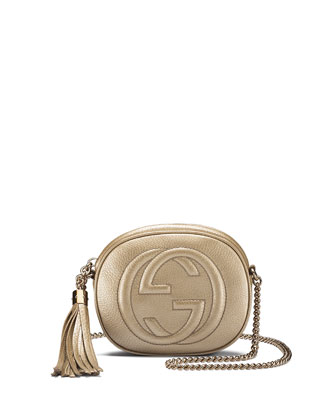 Soho Metallic Leather Mini Chain Bag, Gold