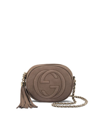 Soho Nubuck Leather Mini Chain Bag, Gray