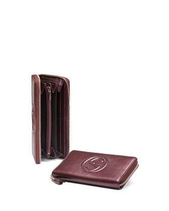 Soho Metallic Leather Zip Around Wallet, Burgundy