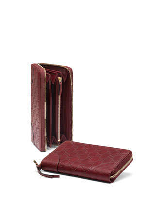 Bree Guccissima Leather Zip Around Wallet, Dark Red