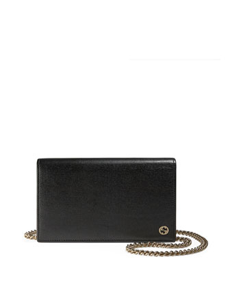 Betty Leather Chain Wallet, Black
