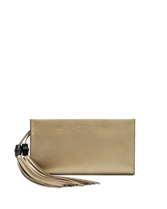 Broadway Suede Clutch Bag, Golden