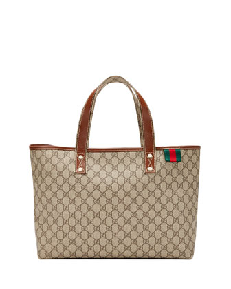 GG Plus Signature Web Tote Bag, Gray/Tan