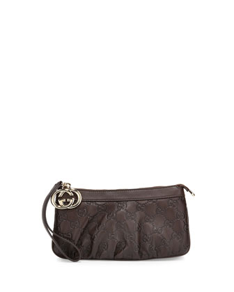 Sukey Guccissima Leather Charm Wristlet, Dark Brown