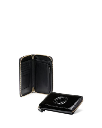 Soho Mini Patent Leather Zip Around Wallet, Black
