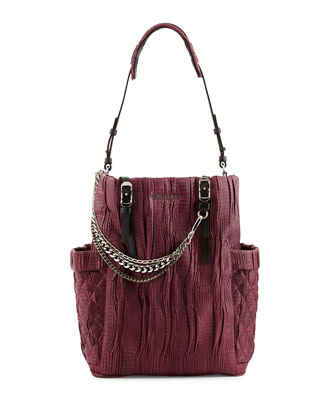 Blare Pleated Snakeskin Tote Bag
