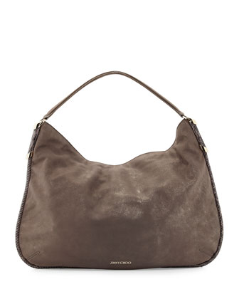 Zoe Metallic Suede Hobo Bag, Champagne
