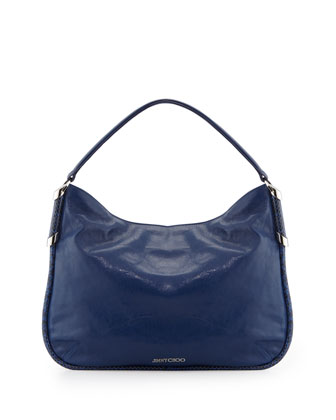Zoe Leather Hobo Bag, Cobalt