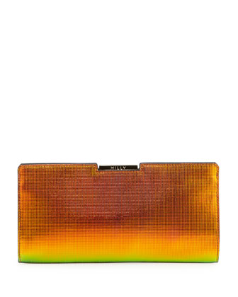 Crosby Holographic Framed Clutch Bag, Orange