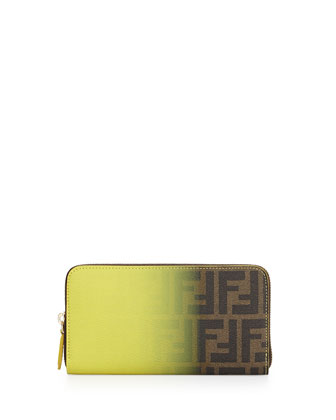 Ombre Zucca Continental Wallet, Brown/Yellow