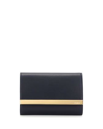 Rush Mini Leather Clutch Bag, Navy