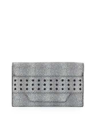 Irving Snake-Print Clutch Bag, Black/White