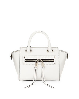 Riley Goatskin Crossbody Tote Bag, White