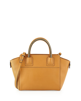 Logan Small Satchel Bag, Caramel