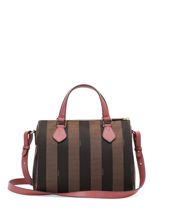 Pequin Stripe Small Boston Bag, Dark Brown