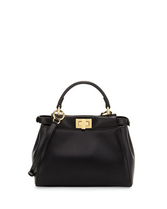 Peekaboo Mini Leather Satchel Bag, Black