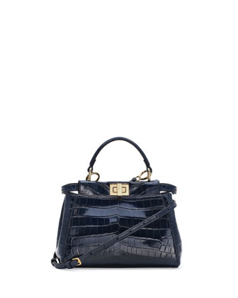 Peekaboo Crocodile Mini Satchel Bag, Navy