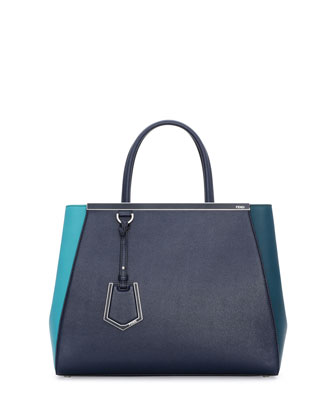 2Jours Bicolor Shopping Tote Bag, Teal