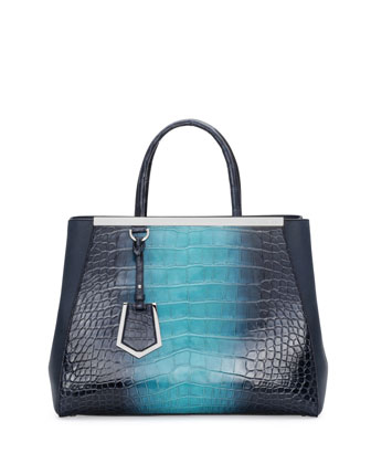 2Jours Crocodile Satchel Bag, Navy