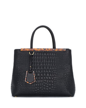 2Jours Stitched-Croc Shopping Tote Bag, Black