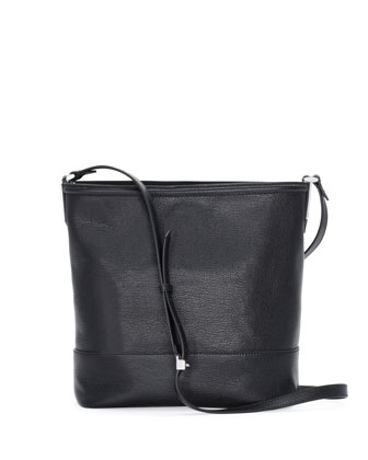 Madras Leather Bucket Bag, Black
