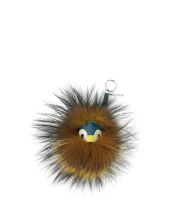 Mini Fur Monster Charm for Handbag, Teal Multi