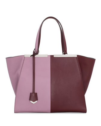 Trois-Jour Bicolor Shopping Tote Bag, Bordeaux/Lilac
