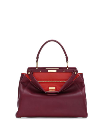 Peekaboo Bicolor Satchel Bag, Bordeaux/Poppy