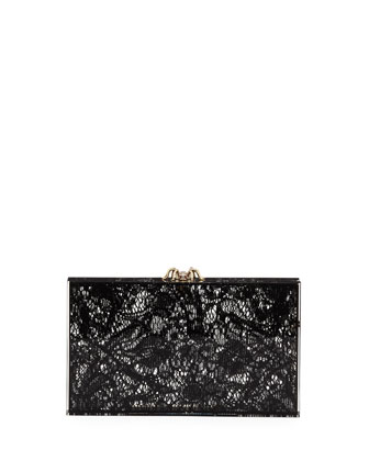 Pandora Lacey Box Clutch, Black