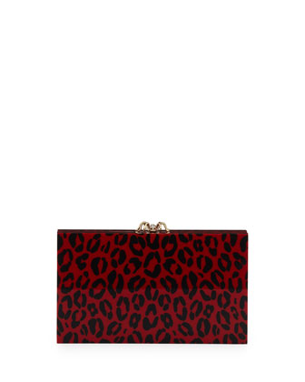 Pandora Leopard-Print Box Clutch, Red